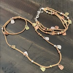Hammered copper silver gold necklace bracelet set